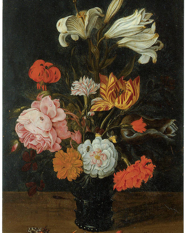 Jan Baptist Van Fornenburgh Poster featuring the painting Bouquet In A Roemer by Jan Baptist Van Fornenburgh