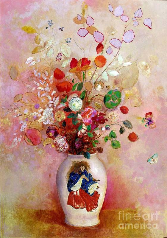 Still Life; Symbolist Poster featuring the painting Bouquet Of Flowers In A Japanese Vase by Odilon Redon