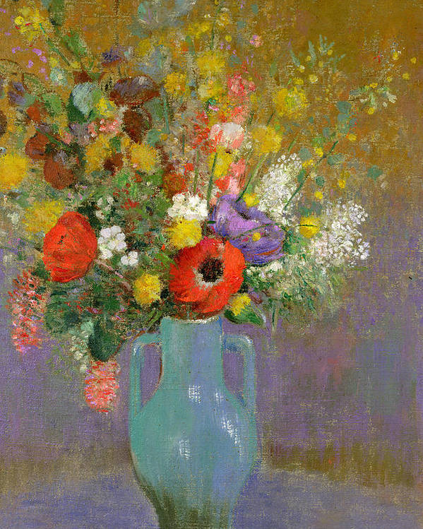 Field; Vase; Still Life; Symbolist; Arrangement Poster featuring the painting Bouquet Of Wild Flowers by Odilon Redon