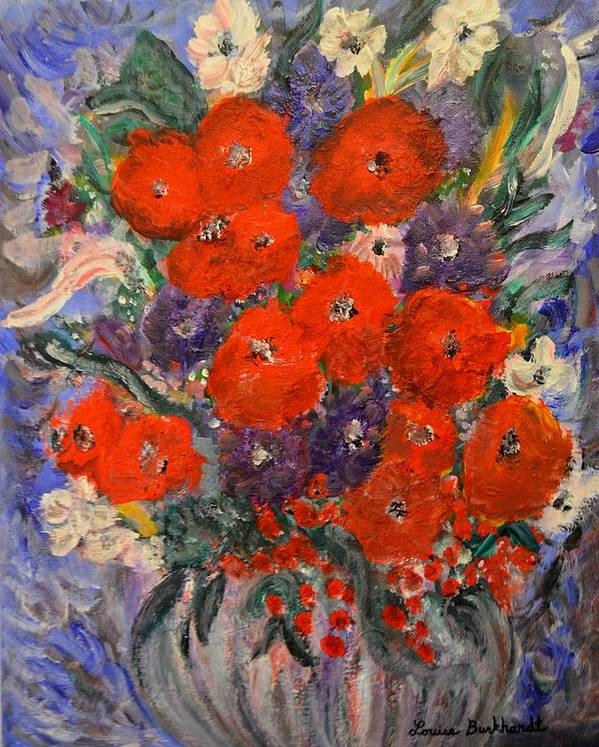 Flowers Poster featuring the painting Bouquet Splash by Louise Burkhardt