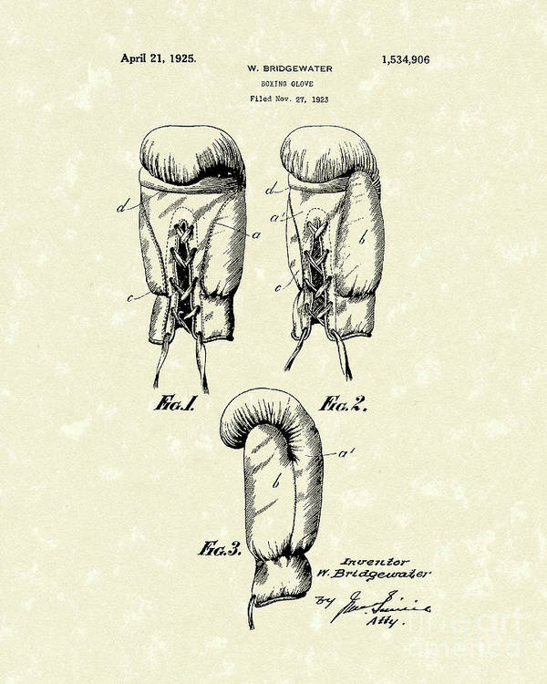 Bridgewater Poster featuring the drawing Boxing Glove 1925 Patent Art by Prior Art Design