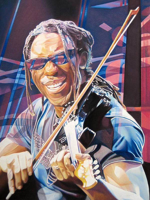 Boyd Tinsley Poster featuring the drawing Boyd Tinsley And 2007 Lights by Joshua Morton