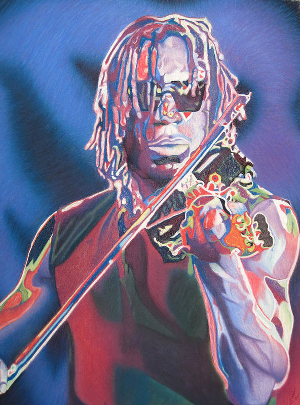 Boyd Tinsley Poster featuring the drawing Boyd Tinsley Colorful Full Band Series by Joshua Morton