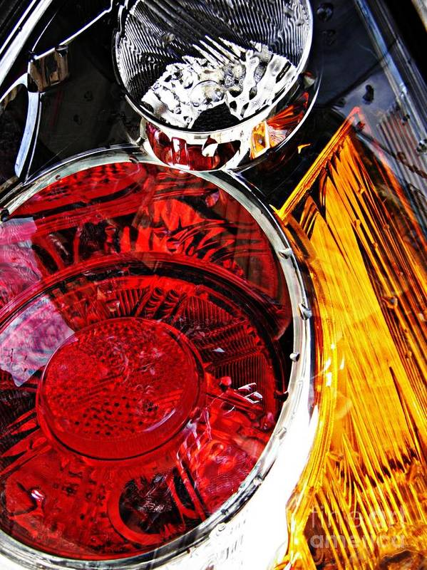 Glass Poster featuring the photograph Brake Light 11 by Sarah Loft