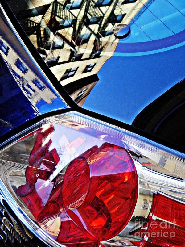 Glass Poster featuring the photograph Brake Light 50 by Sarah Loft