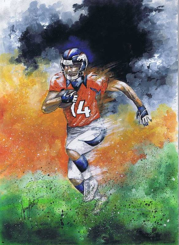 Football Poster featuring the painting Brandon Stokley by Jerry Bates