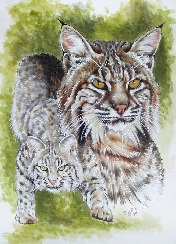 Small Cat Poster featuring the mixed media Brassy by Barbara Keith