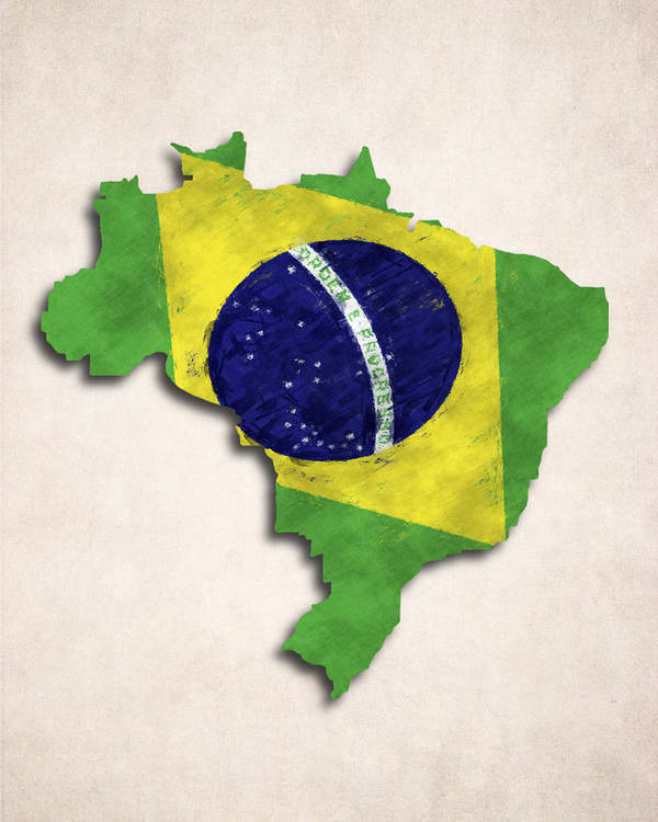 Brazil Poster featuring the digital art Brazil Map Art With Flag Design by World Art Prints And Designs