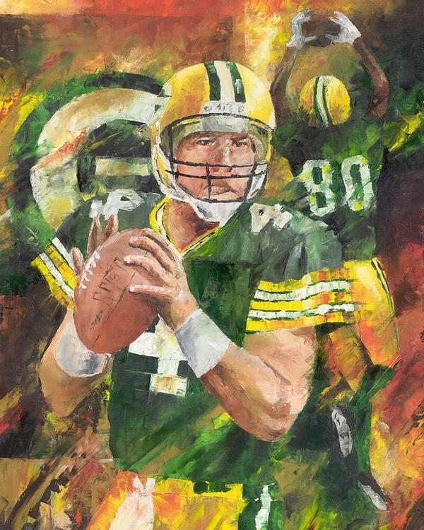 Brett Poster featuring the painting Brett Favre by Christiaan Bekker