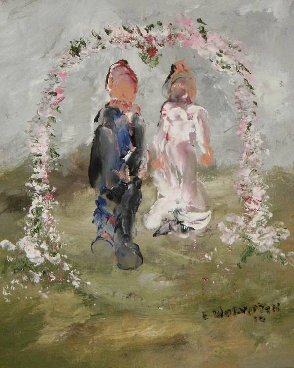 The Wedding Day- Impression Poster featuring the painting Bride And Groom by Edward Wolverton
