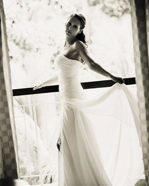 Marriage Poster featuring the photograph Bride At The Balcony. Black And White by Jenny Rainbow