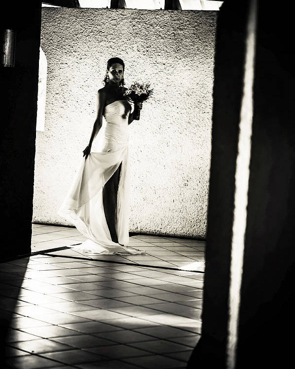 Marriage Poster featuring the photograph Bride. Black And White by Jenny Rainbow