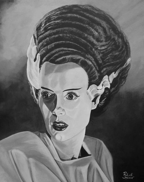 Bride Of Frankenstein Poster featuring the painting Bride Of Frankenstein by Robert Steen