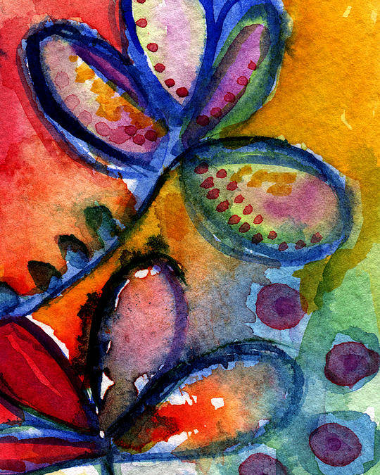 Abstract Poster featuring the painting Bright Abstract Flowers by Linda Woods
