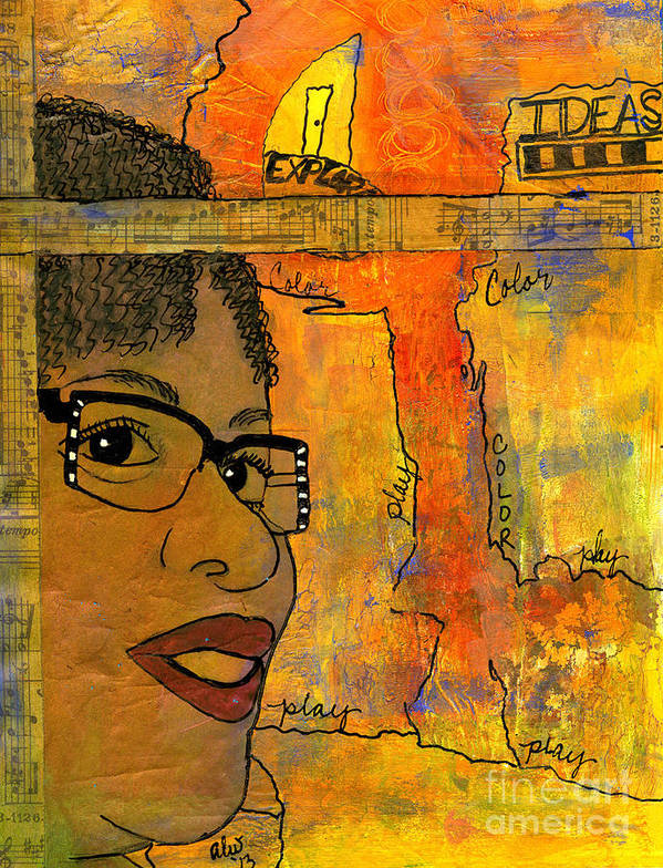 Journal Art Poster featuring the mixed media Bright Ideas by Angela L Walker