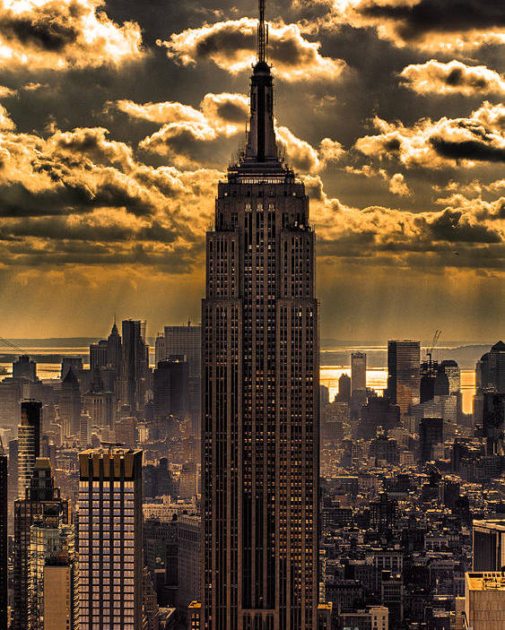 Empire State Building Poster featuring the photograph Brilliant But Hazy Manhattan Day by John Farnan