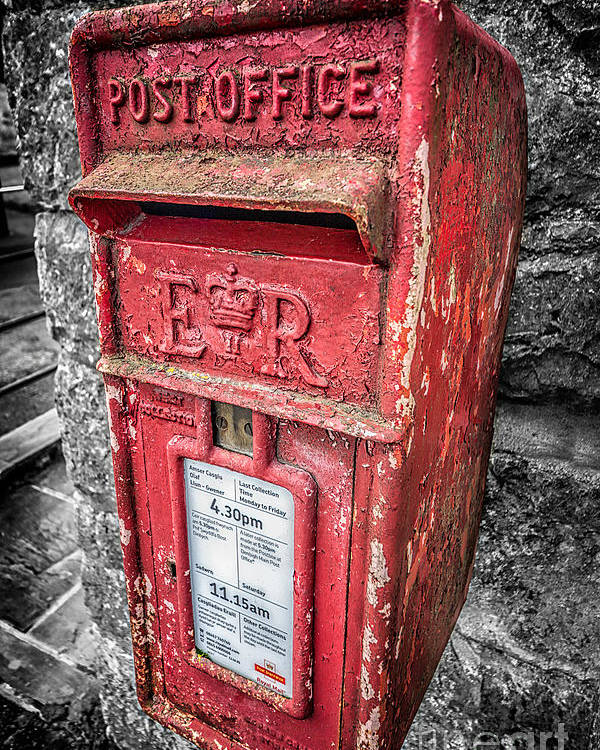 British Poster featuring the photograph British Post Box by Adrian Evans
