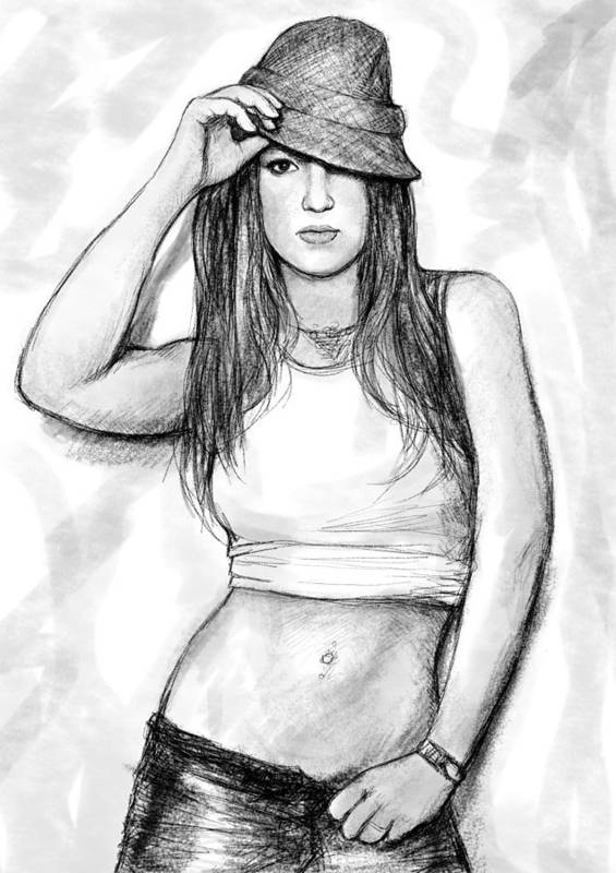 Britney Art Drawing Sketch Portrait Poster featuring the painting Britney Art Drawing Sketch Portrait by Kim Wang
