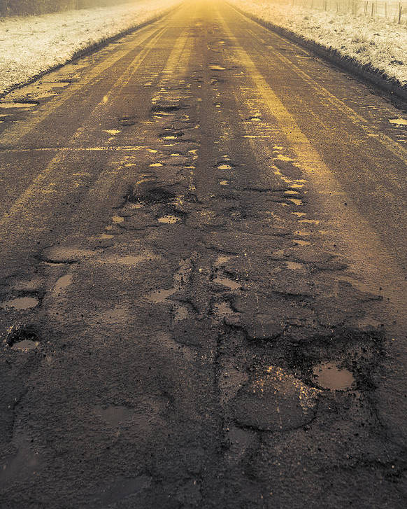 Cold Poster featuring the photograph Broken Road by Svetlana Sewell