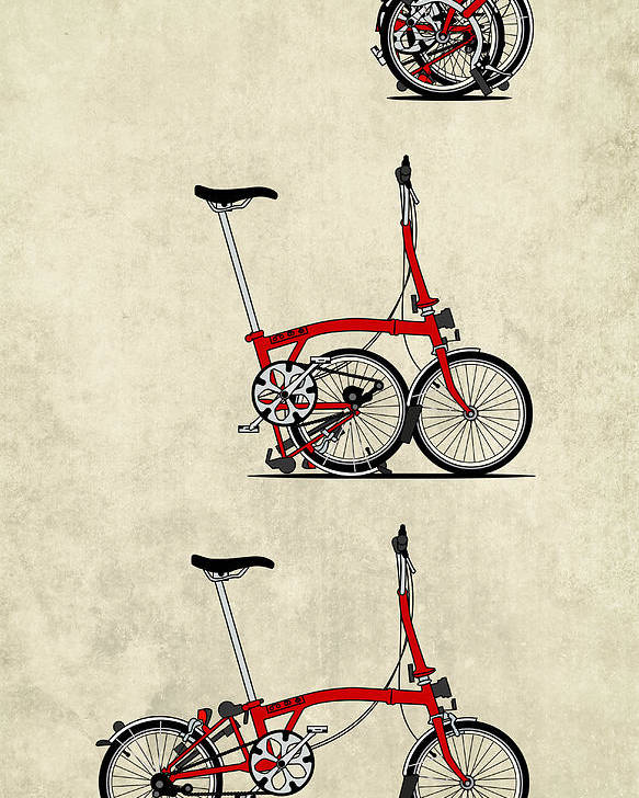 Bike Poster featuring the mixed media Brompton Bicycle by Andy Scullion
