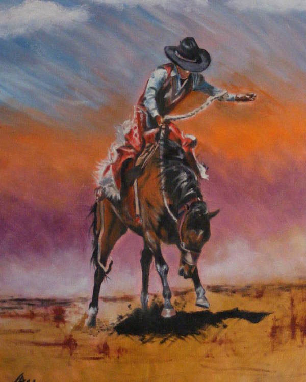 Cowboy Poster featuring the painting Bronco Riding by Maria Luna