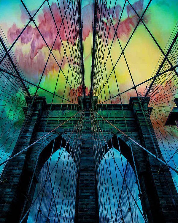 Brooklyn Bridge Poster featuring the digital art Psychedelic Skies by Az Jackson