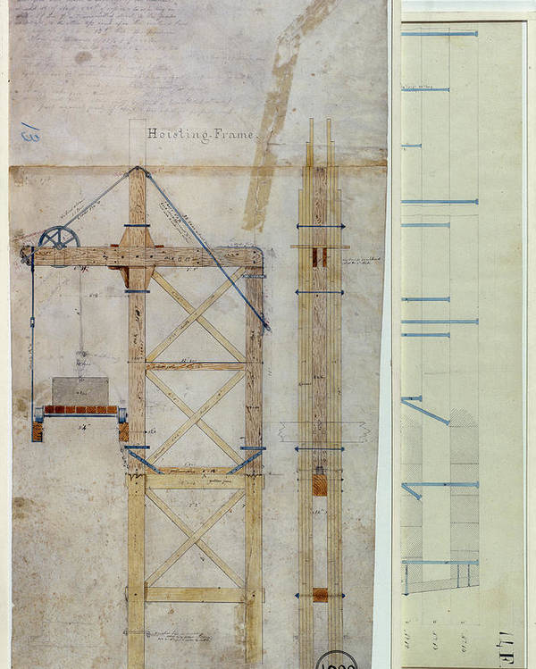 1880 Poster featuring the photograph Brooklyn Bridge: Diagram by Granger