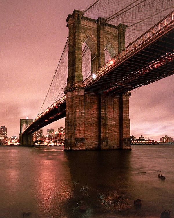 Brooklyn Bridge Poster featuring the photograph Brooklyn Bridge - Red Morning by Gary Heller