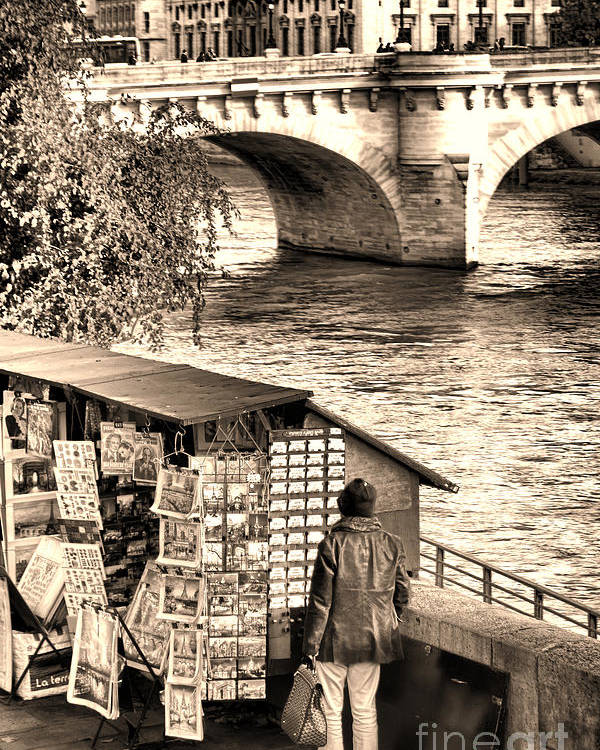 France Poster featuring the photograph Browsing The Outdoor Bookseller by Olivier Le Queinec