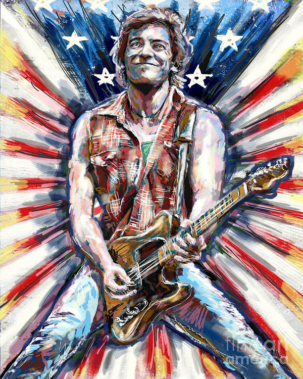 Usa Home Decor Poster featuring the mixed media Bruce Springsteen Painting by Ryan Rock Artist