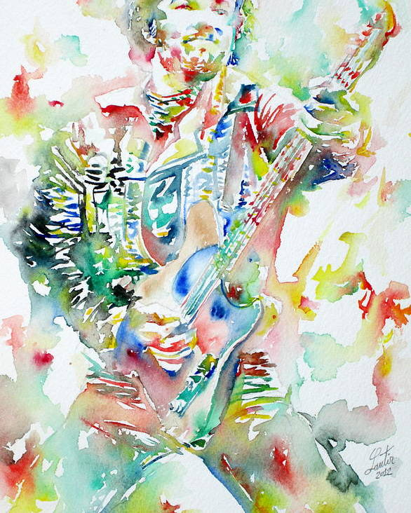 Bruce Poster featuring the painting Bruce Springsteen Playing The Guitar Watercolor Portrait by Fabrizio Cassetta