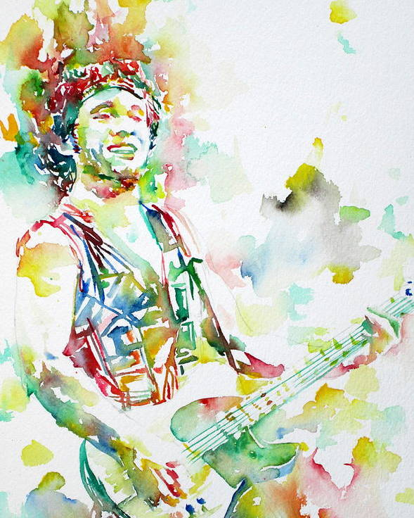 Bruce Poster featuring the painting Bruce Springsteen Playing The Guitar Watercolor Portrait.2 by Fabrizio Cassetta