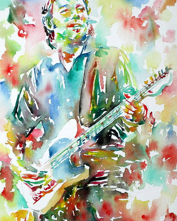 Bruce Poster featuring the painting Bruce Springsteen Playing The Guitar Watercolor Portrait.3 by Fabrizio Cassetta