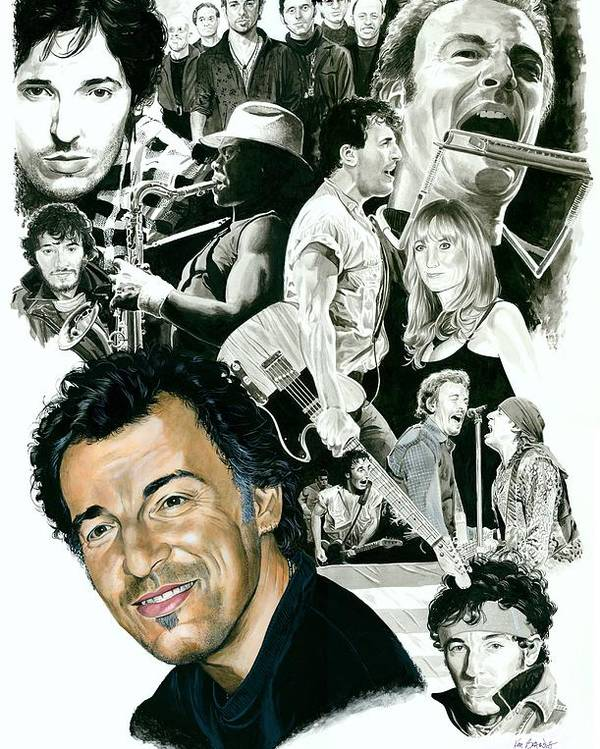 Bruce Springsteen Poster featuring the painting Bruce Springsteen Through the Years by Ken Branch