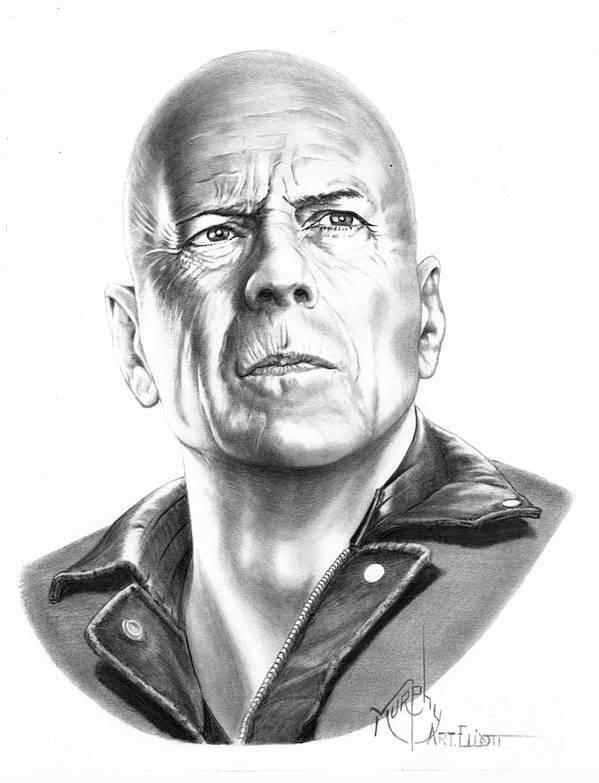 Pencil Poster featuring the drawing Bruce Willis by Murphy Elliott
