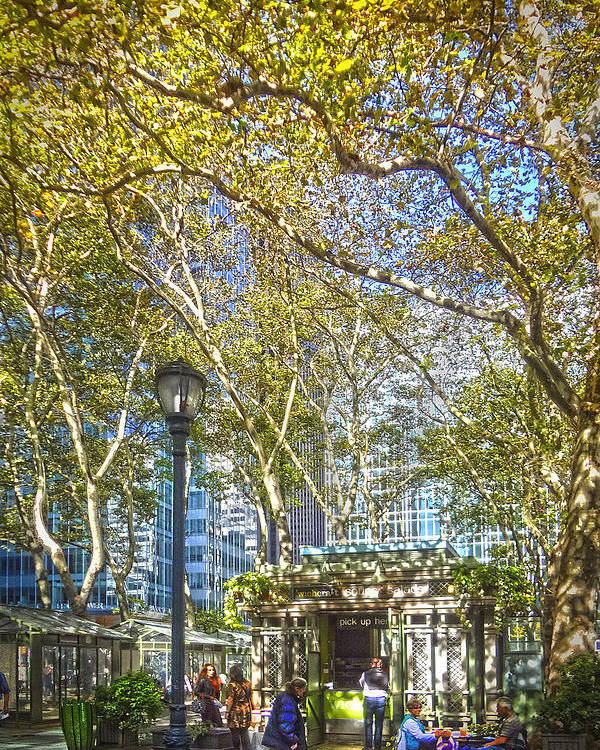 City Paintings Poster featuring the photograph Bryant Park Afternoon by Richard Trahan