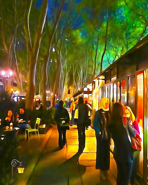 City Paintings Poster featuring the photograph Bryant Park Evening by Richard Trahan