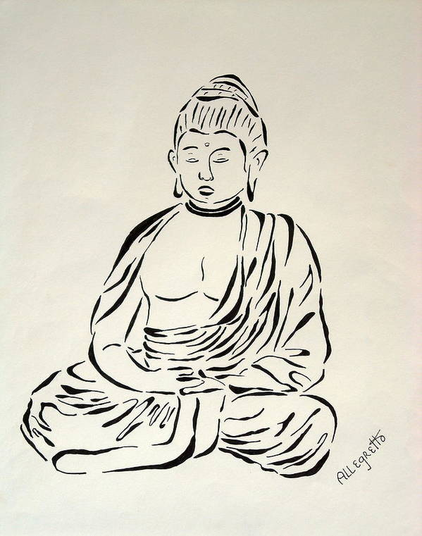 Pamela Allegretto Franz Poster featuring the painting Buddha In Black And White by Pamela Allegretto