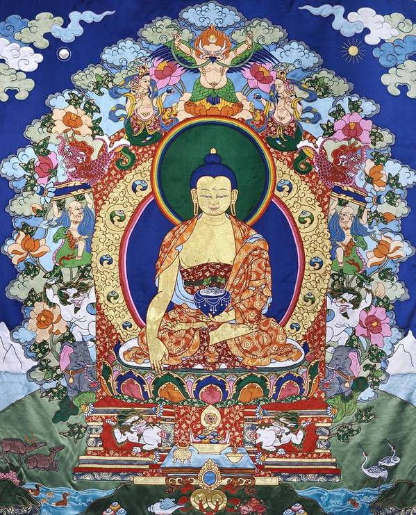 Buddha Poster featuring the tapestry - textile Buddha Shakyamuni And The Six Supports by Leslie Rinchen-Wongmo