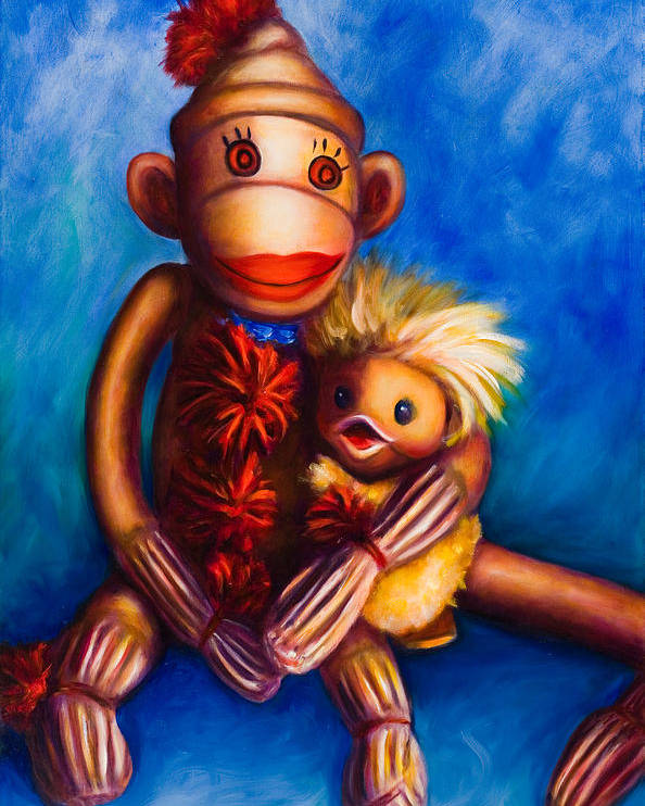 Sock Monkeys Brown Poster featuring the painting Buddies by Shannon Grissom