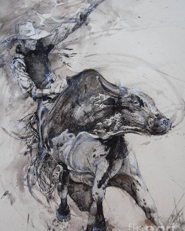 Bull Poster featuring the drawing Bull Rider by Bob Graham
