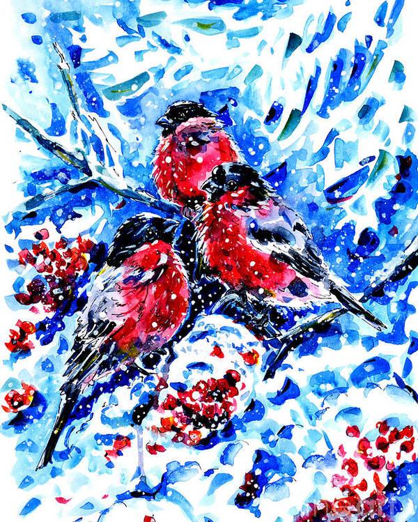 Bullfinches Poster featuring the painting Bullfinches by Zaira Dzhaubaeva