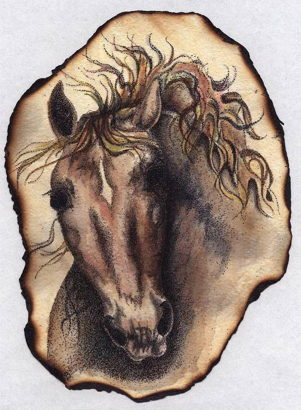 Horses Poster featuring the painting Burned Art by Jodi Bauter