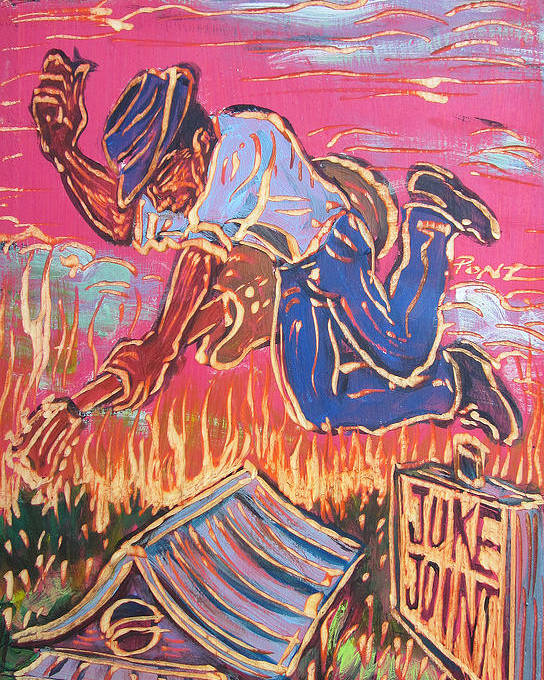 Blues Poster featuring the painting Burnin' It Up by Robert Ponzio