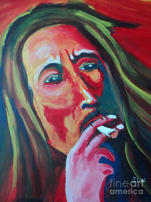 Bob Marley Poster featuring the painting Burning Marley by Justin Lee Williams