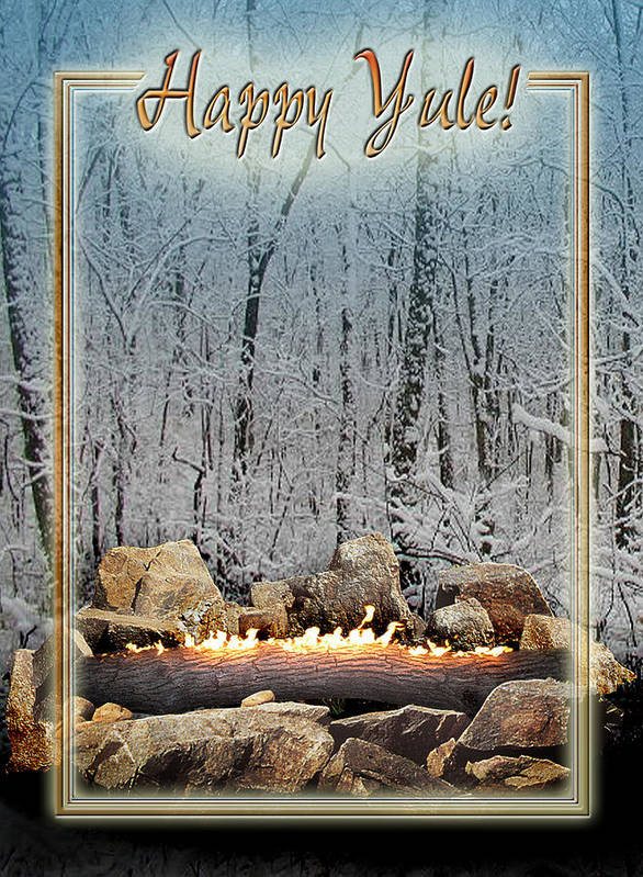 Yule Poster featuring the digital art Burning Yule Log by Melissa A Benson