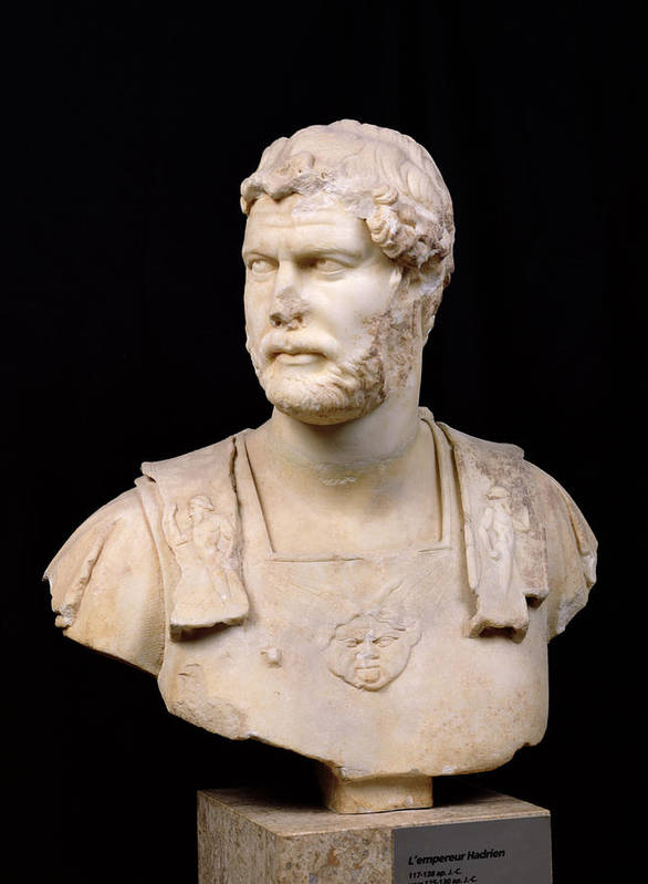 Buste De L'empereur Hadrien Poster featuring the sculpture Bust Of Emperor Hadrian by Anonymous