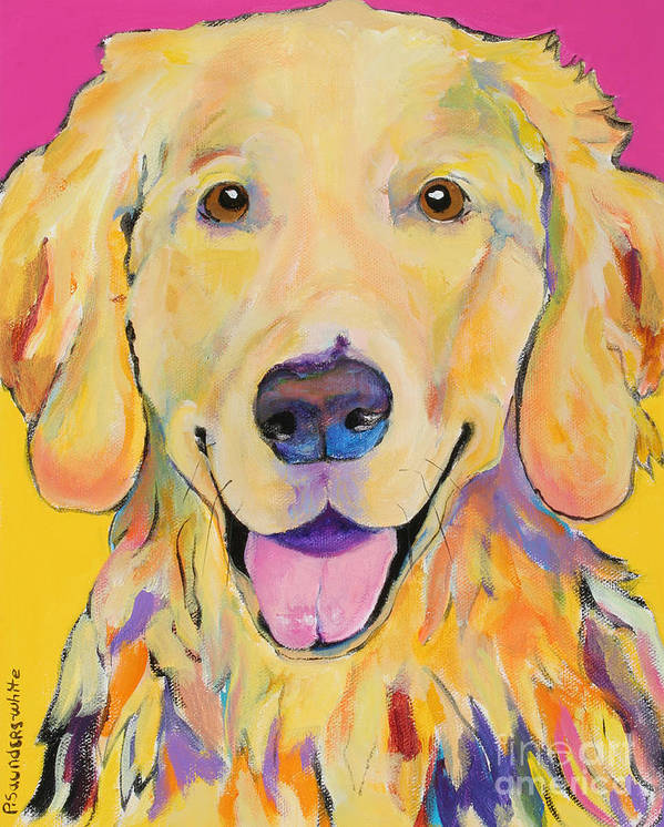 Golden Retriever Poster featuring the painting Buster by Pat Saunders-White