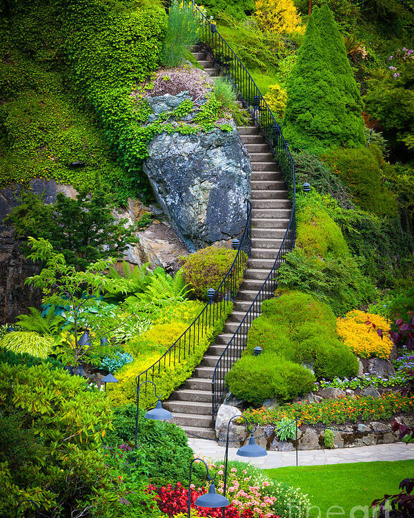 Butchart Gardens Stairs Poster By Inge Johnsson