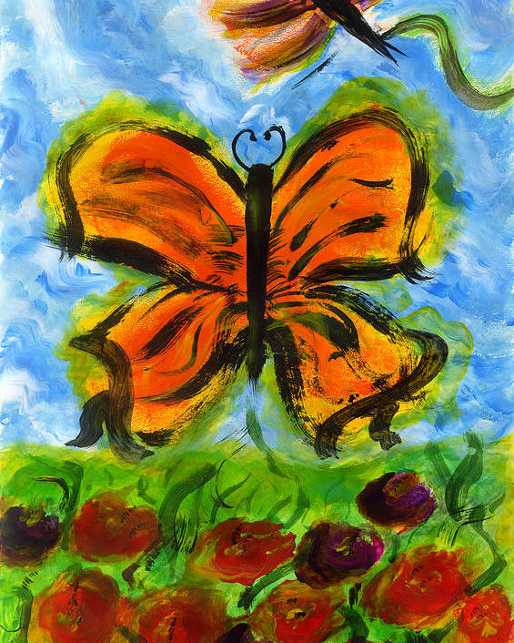 Butterfly Poster featuring the painting Butterfly And Dragonfly by Tracy W Smith
